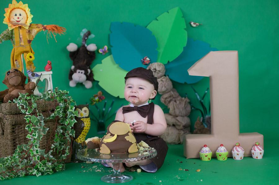 Jungle Theme Cake Smash First Birthday Photographer Bangalore India